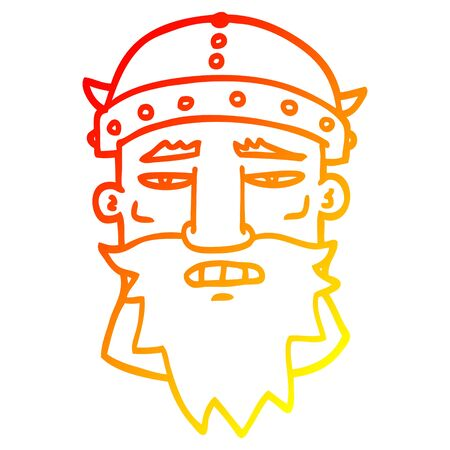 warm gradient line drawing of a cartoon angry warrior