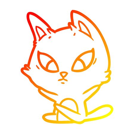 warm gradient line drawing of a confused cartoon cat sitting Illustration