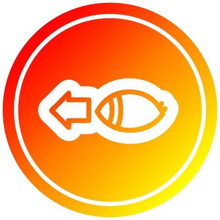 staring eye circular icon with warm gradient finish Illusztráció