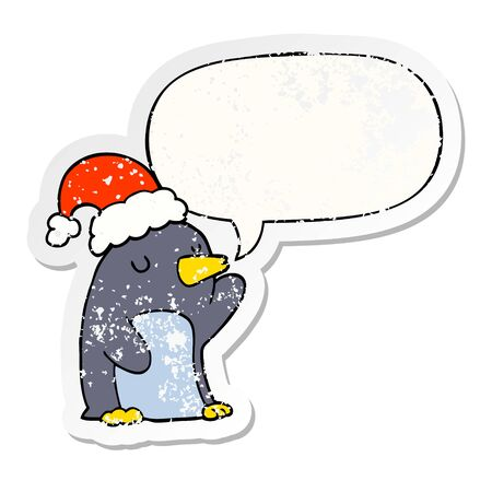 cute cartoon christmas penguin with speech bubble distressed distressed old sticker