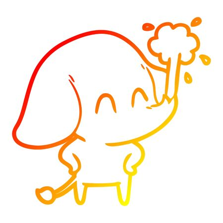 warm gradient line drawing of a cute cartoon elephant spouting water