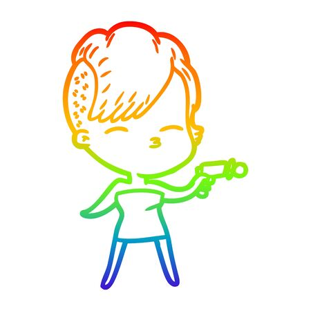 rainbow gradient line drawing of a cartoon squinting girl pointing ray gun