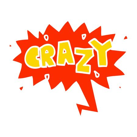 cartoon word crazy with speech bubble in retro style
