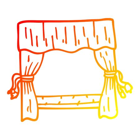 warm gradient line drawing of a cartoon stage curtains