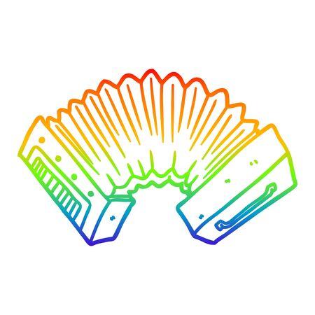rainbow gradient line drawing of a cartoon accordion