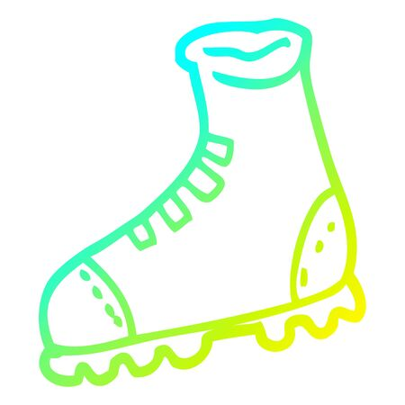 cold gradient line drawing of a cartoon walking boot