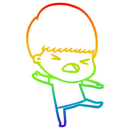 rainbow gradient line drawing of a cartoon stressed man