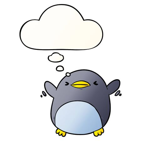 cute cartoon flapping penguin with thought bubble in smooth gradient style