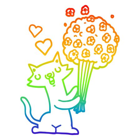 rainbow gradient line drawing of a cartoon cat in love with flowers Ilustracja