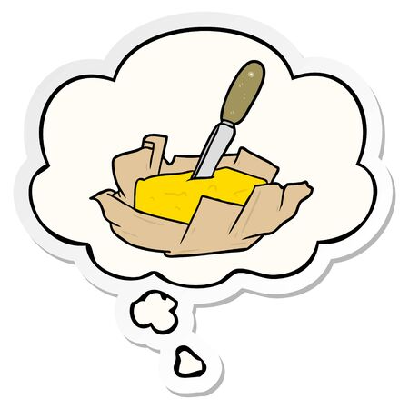 cartoon butter with thought bubble as a printed sticker Illustration