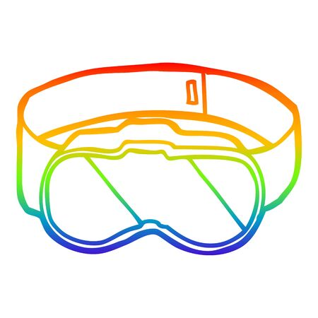 rainbow gradient line drawing of a cartoon goggles