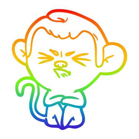 rainbow gradient line drawing of a cartoon annoyed monkey