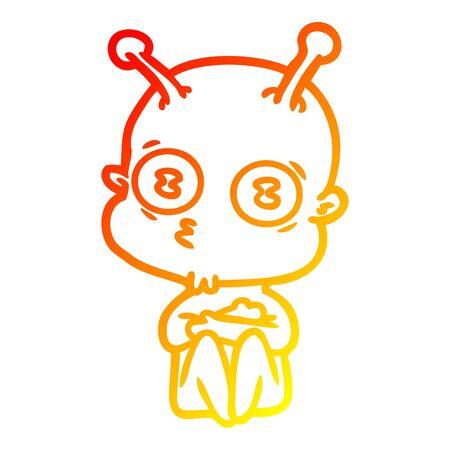 warm gradient line drawing of a cartoon weird bald spaceman