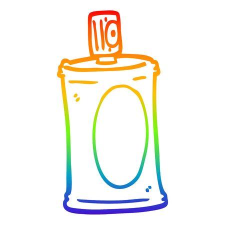 rainbow gradient line drawing of a cartoon spray can Ilustracja