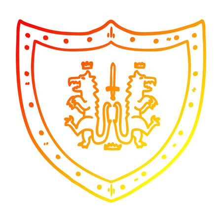 warm gradient line drawing of a cartoon heraldic shield Reklamní fotografie - 129506634