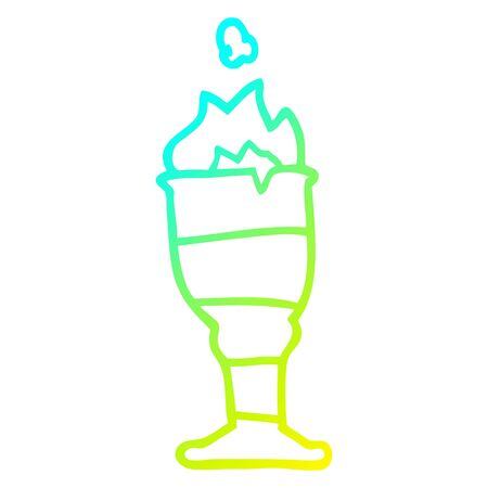 cold gradient line drawing of a cartoon flaming golden cup