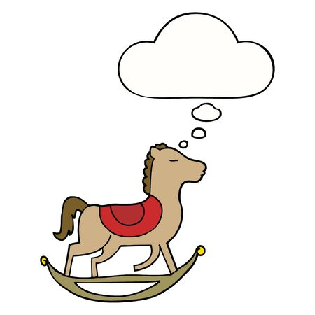 cartoon rocking horse with thought bubble Çizim