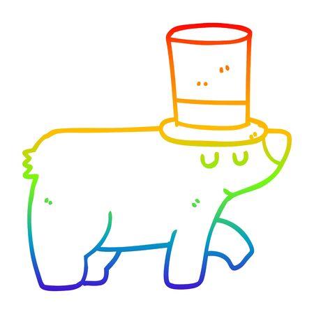rainbow gradient line drawing of a cartoon bear wearing top hat