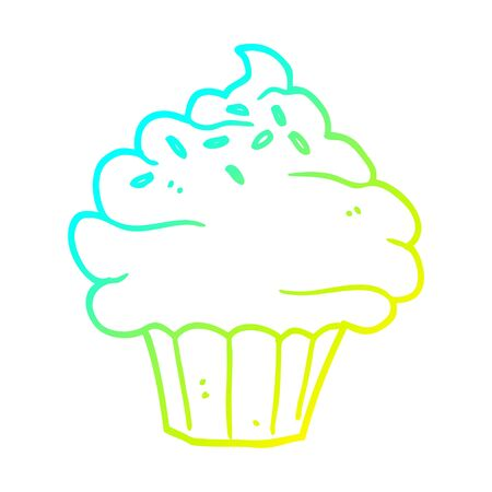 cold gradient line drawing of a cartoon cupcake Ilustrace