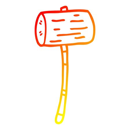 warm gradient line drawing of a cartoon wood mallet Illustration