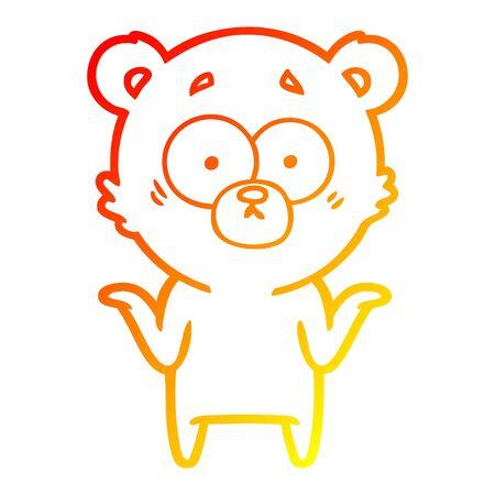 warm gradient line drawing of a cartoon bear shrugging shoulders
