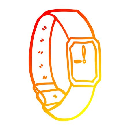 warm gradient line drawing of a cartoon wrist watch Illusztráció