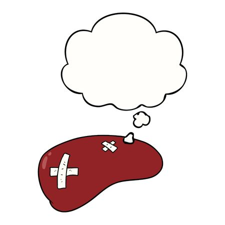 cartoon repaired liver with thought bubble
