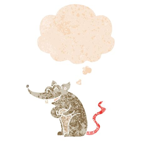 cartoon rat with thought bubble in grunge distressed retro textured style
