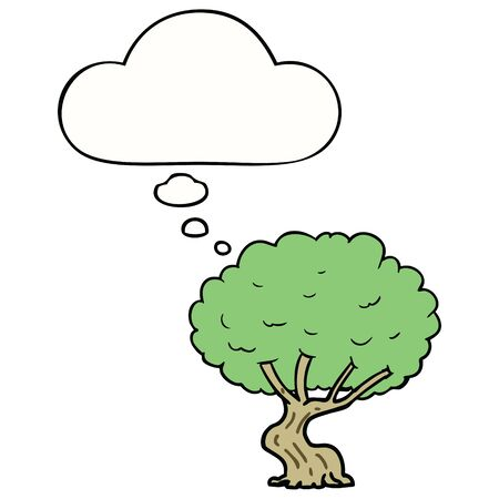 cartoon tree with thought bubble Ilustrace