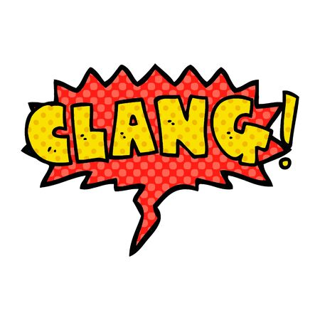 cartoon word clang with speech bubble in comic book style Stok Fotoğraf - 129506771