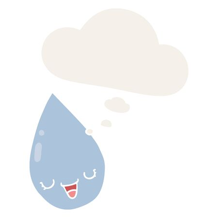 cartoon raindrop with thought bubble in retro style 일러스트