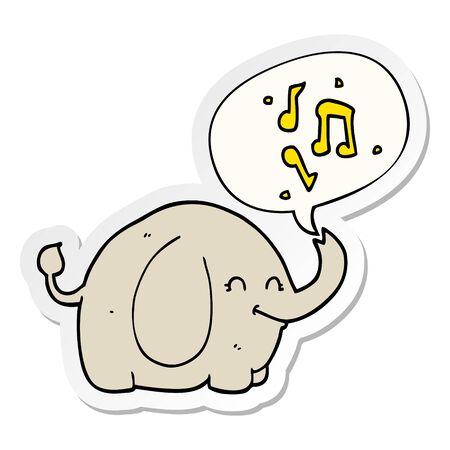 cartoon trumpeting elephant with speech bubble sticker