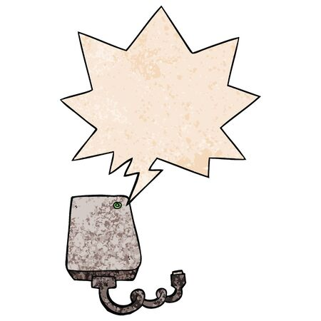 cartoon hard drive with speech bubble in retro texture style