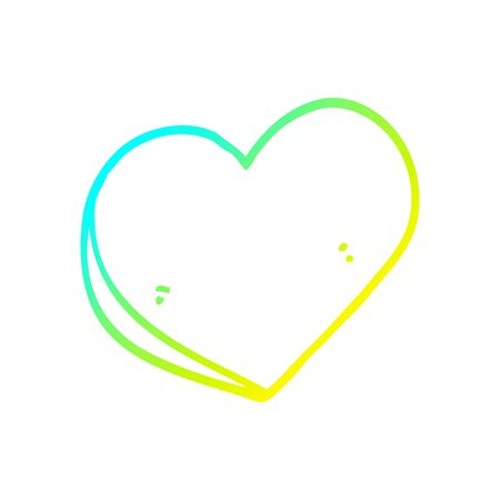 cold gradient line drawing of a cartoon love heart Ilustracja