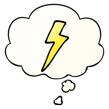 cartoon lightning bolt with thought bubble in smooth gradient style Ilustração