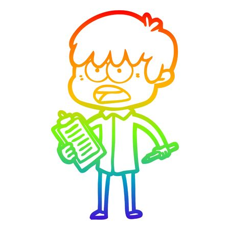rainbow gradient line drawing of a worried cartoon boy