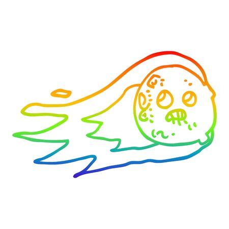 rainbow gradient line drawing of a cartoon flaming asteroid Ilustração