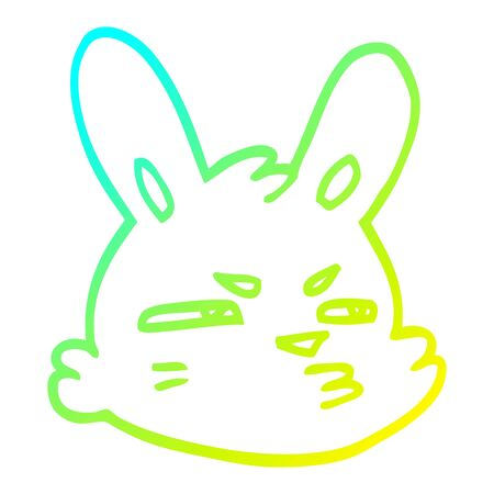 cold gradient line drawing of a cartoon moody rabbit