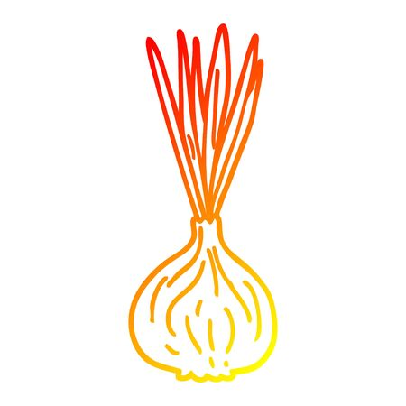 warm gradient line drawing of a cartoon sprouting onion