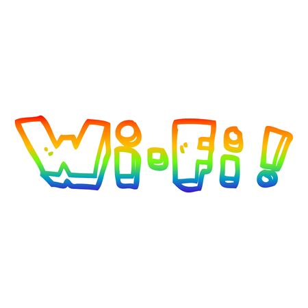 rainbow gradient line drawing of a cartoon wording wi-fi Stok Fotoğraf - 129507276