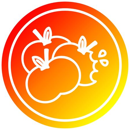 juicy apples circular icon with warm gradient finish
