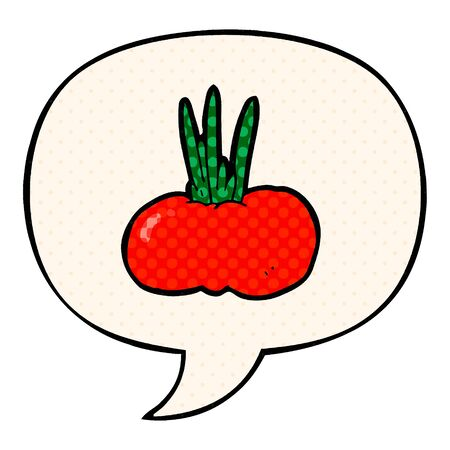 cartoon vegetable with speech bubble in comic book style Illusztráció