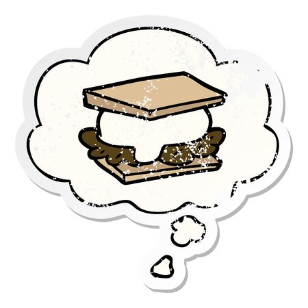 smore cartoon with thought bubble as a distressed worn sticker
