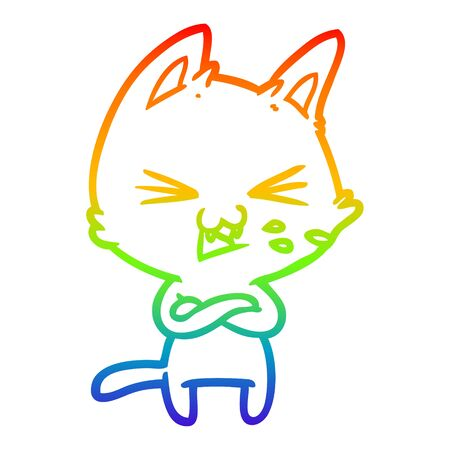 rainbow gradient line drawing of a cartoon cat with crossed arms