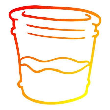 warm gradient line drawing of a cartoon glass of drink Illustration