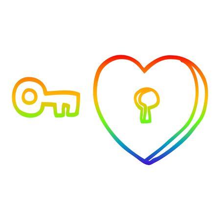 rainbow gradient line drawing of a cartoon heart and key Foto de archivo - 129507113