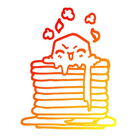warm gradient line drawing of a cartoon butter melting on pancakes