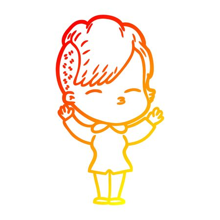 warm gradient line drawing of a cartoon squinting girl