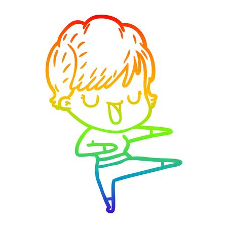 rainbow gradient line drawing of a cartoon woman talking