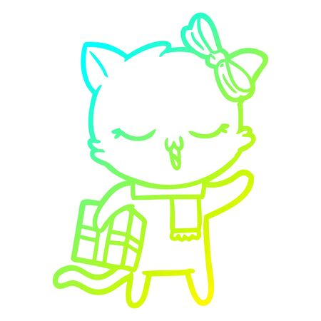 cold gradient line drawing of a cartoon girl cat with christmas present